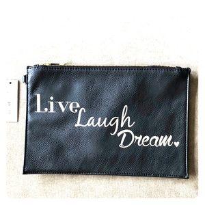 """Live Laugh Dream"" Oversized Clutch"
